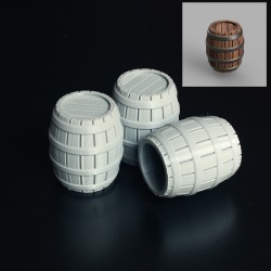 3 Wooden Barrels 30mm